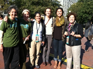 Eva Sommaripa '63, Didi Emmons, Kristina Jones, Mackenzie Klema '14, Sophia Garcia '15, Louisa Kasdon '73 meet at the Let's Talk About Food Festival in Boston this year.