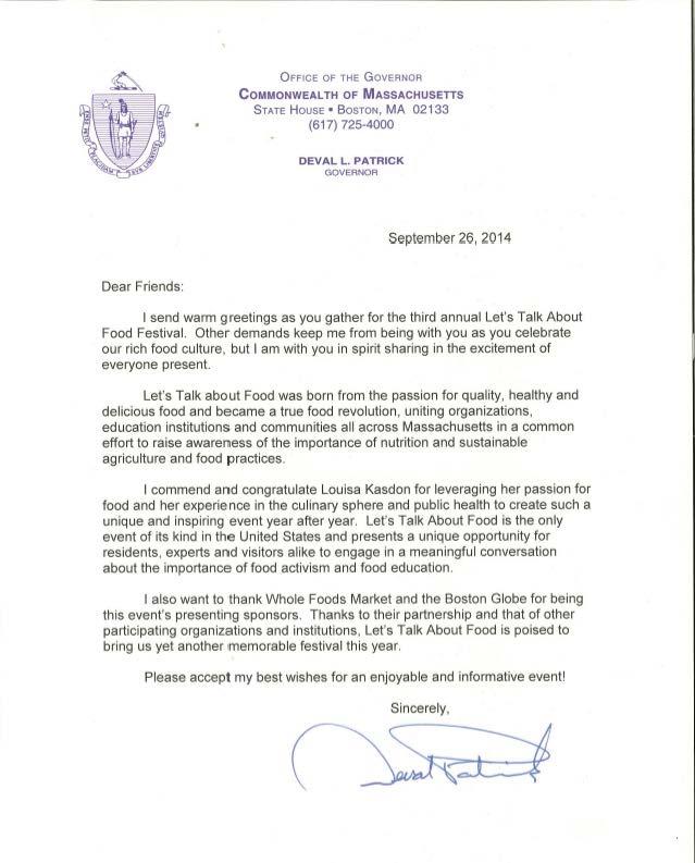 Deval's letter LTAF